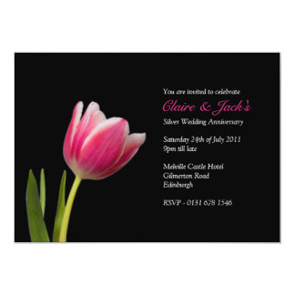 Single Pink Tulip Anniversary Party  Invitation