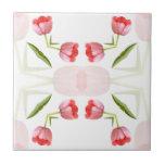 Single Pink Tulip Kaleidoscope Tile
