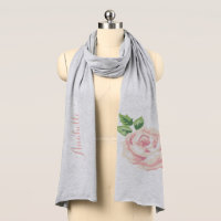 Single Pink Vintage Rose Scarf
