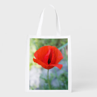 Single poppy flower photo grocery bags