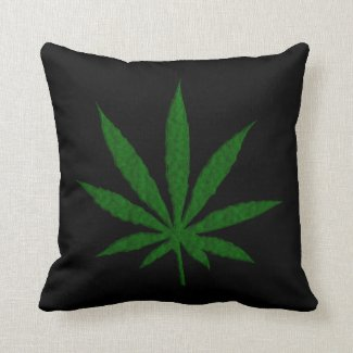 Single Pot Leaf on Black Throw Pillow