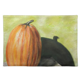 Single Pumpkin classic still life vegetable oil Placemats