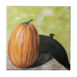Single Pumpkin classic still life vegetable oil Tiles