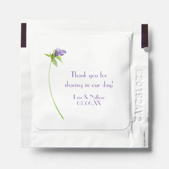 Single Purple Blossom on Stem Wedding Favors Hand Sanitizer Packet