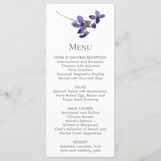 Single Purple Flower Stem Menu Cards