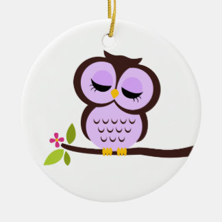 Single Purple Owl Christmas Ornament