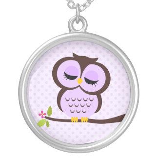 Single Purple Owl Round Pendant Necklace