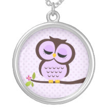 Single Purple Owl Silver Plated Necklace
