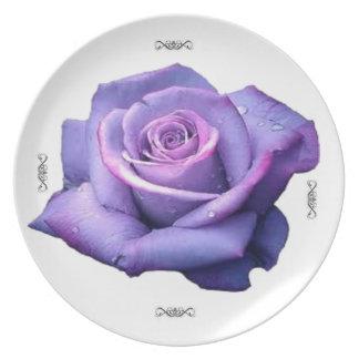 single purple rose melamine plate
