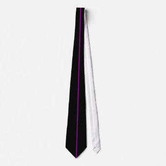 Single Purple Stripe on Black Tie