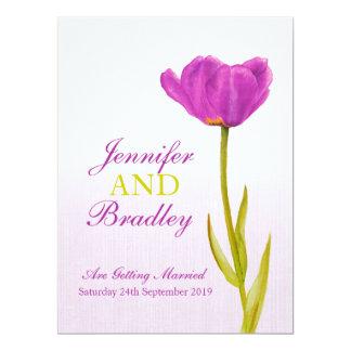 Single purple tulip art large wedding invitation