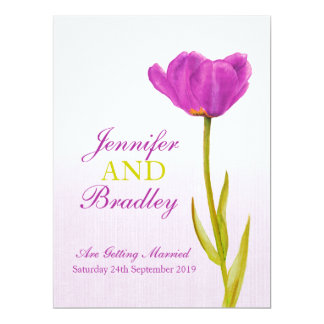 Single purple tulip art large wedding invitation