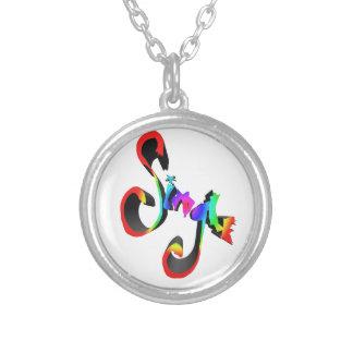 single rainbow round pendant necklace