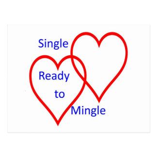 Single ready to mingle postcard