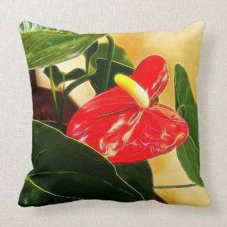 Single Red Anthurium Floral Photography Throw Pillow