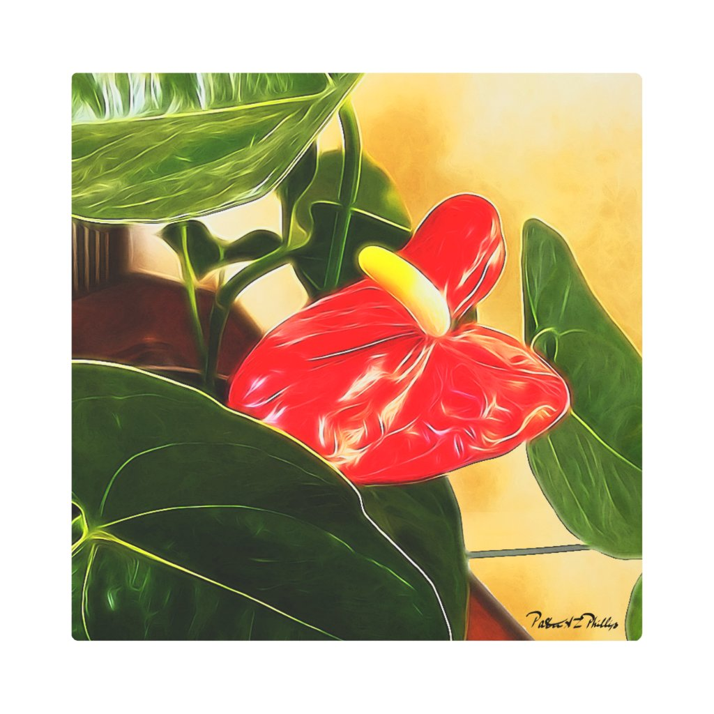 Single Red Anthurium Flower Metal Print