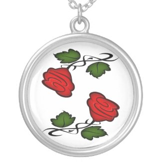 Single Red Flower Kissing Necklace