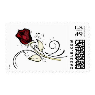 Single red grunge rose floral postage stamps