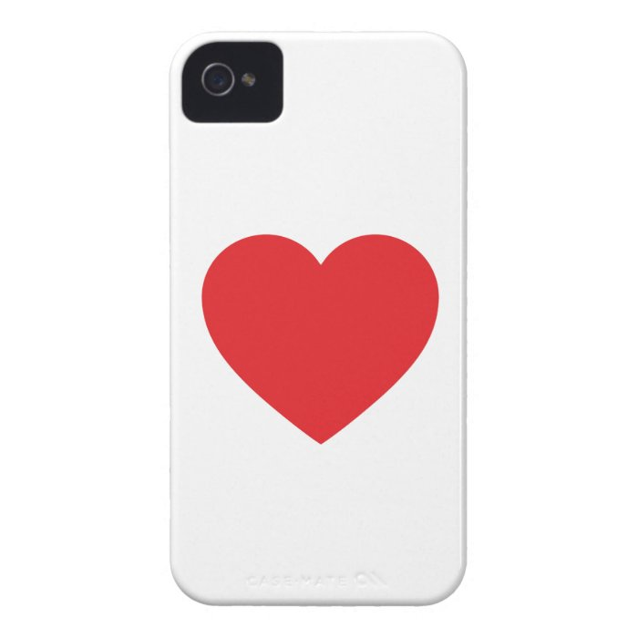 Single Red Heart iPhone 4 Case-Mate Barely There iPhone 4 Cover