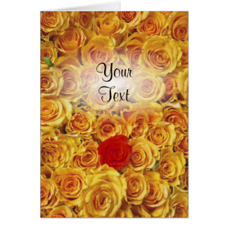 Single Red in Yellow Bed Roses Greeting Card