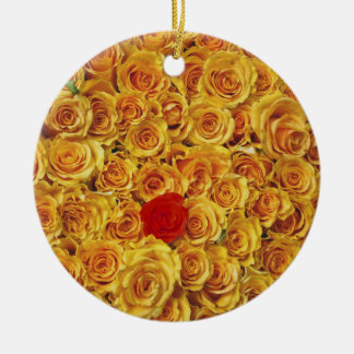 Single Red in Yellow Bed Roses Ceramic Ornament