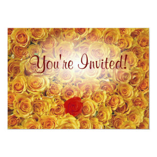 Single Red in Yellow Bed Roses 5x7 Paper Invitation Card