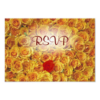 Single Red in Yellow Bed Roses 3.5x5 Paper Invitation Card