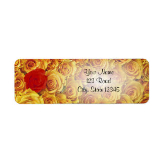 Single Red in Yellow Bed Roses Label