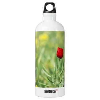 Single Red Poppy Aluminum Water Bottle
