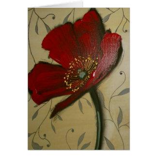 Single Red Poppy Card