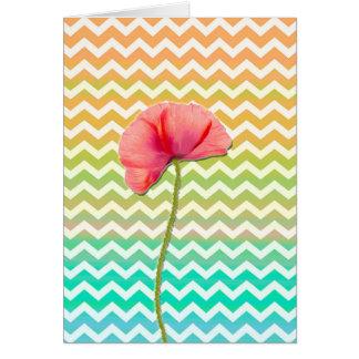 Single red poppy chevron pattern background card