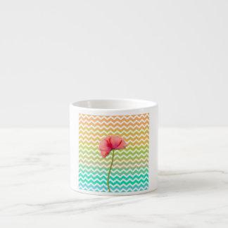 Single red poppy chevron pattern background espresso cup