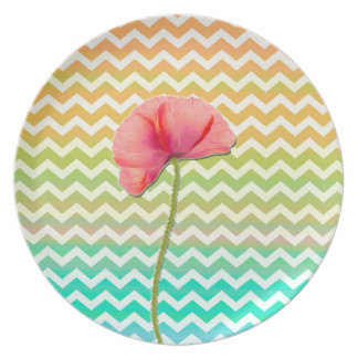 Single red poppy chevron pattern background party plate