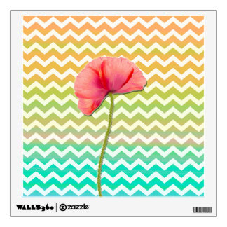 Single red poppy chevron pattern background wall decal