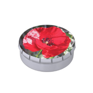 Single Red Poppy Flower Jelly Belly Tins