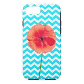 Single red poppy flower on blue and white chevron iPhone 7 case