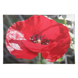 Single Red Poppy Flower Place Mats
