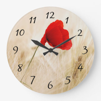 Single Red Poppy in a Grassy Field Large Clock