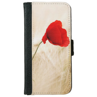Single Red Poppy in a Grassy Field Wallet Phone Case For iPhone 6/6s