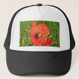 Single Red Poppy in Garden Trucker Hat