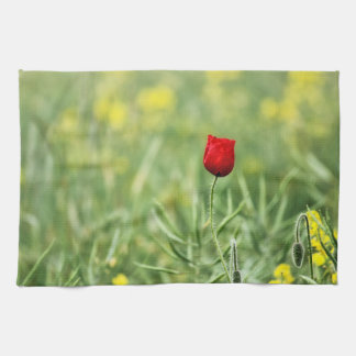 Single Red Poppy Towels