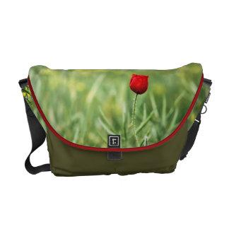 Single Red Poppy Messenger Bag