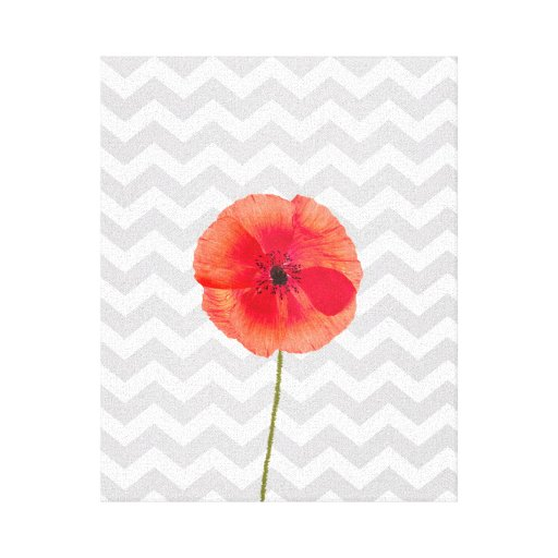 Single red poppy on grey and white chevron pattern gallery wrap canvas