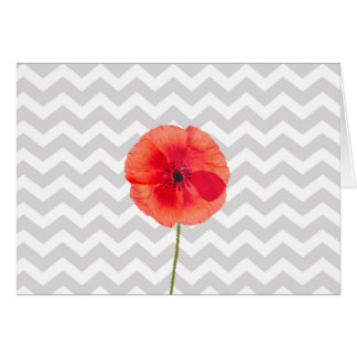 Single red poppy on grey and white chevron pattern card