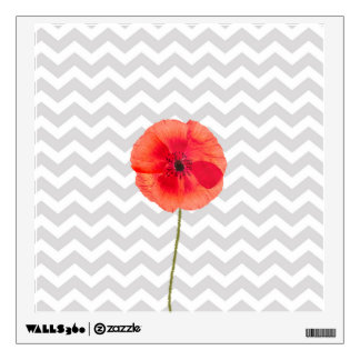 Single red poppy on grey and white chevron pattern wall sticker