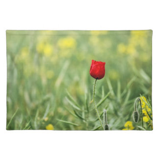 Single Red Poppy Placemat