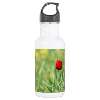 Single Red Poppy Stainless Steel Water Bottle