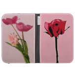 Single Red Rose and Pink Tulips Kindle Case