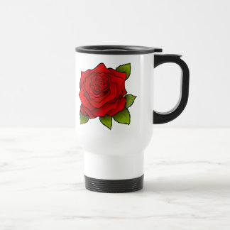 Single Red Rose Art Travel Mug