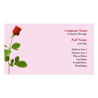 Single Red Rose Business Card Template